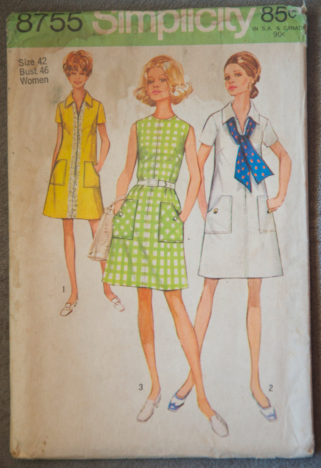 1970's Simplicity One Piece Dress pattern - Bust 46