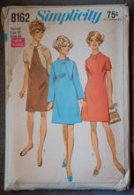 "1960's Simplicity A-Line Dress pattern in two sleeve lengths - Bust 44"" - No. 8162"