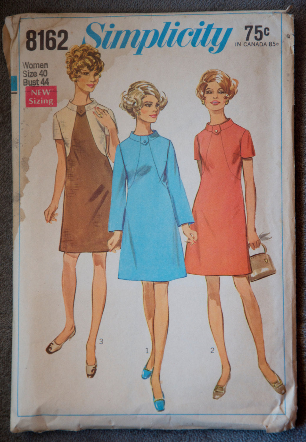 1960's Simplicity A-Line Dress pattern in two sleeve lengths - Bust 44