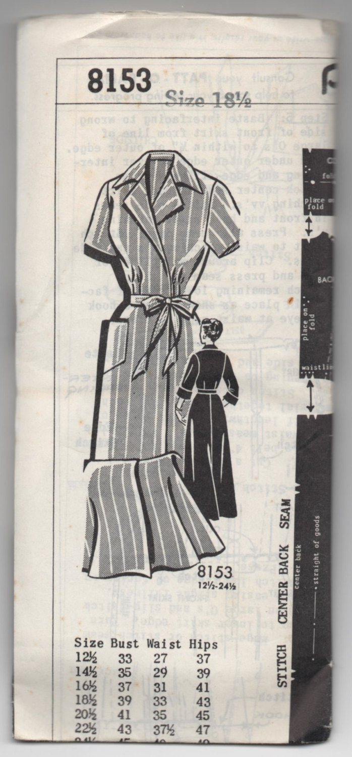 1950's Patt-O-Rama Shirtwaist Dress pattern - UNCUT - Bust 39