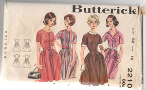 "1960's Butterick One-Piece Shirtwaist Dress pattern - Bust 32"" - No. 2210"