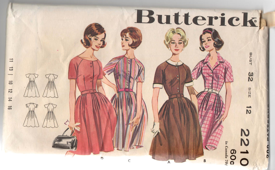1960's Butterick One-Piece Shirtwaist Dress pattern - Bust 32
