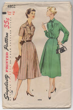 "1950's Simplicity Short or Long Sleeve Button-Up Dress Pattern - Bust 36"" - No. 4802"