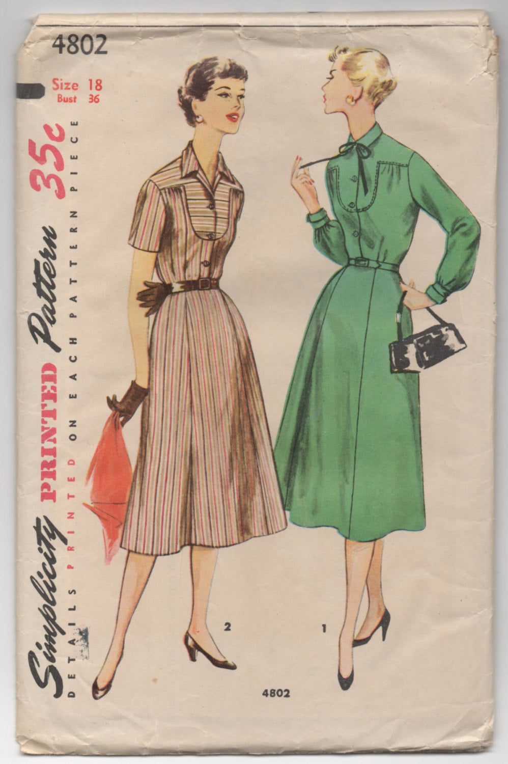 1950's Simplicity Short or Long Sleeve Button-Up Dress Pattern - Bust 36