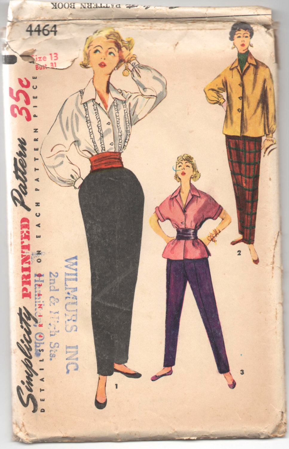 1950's Simplicity Blouse, Overblouse and Pants Pattern - Bust 31