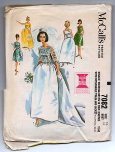 "1960's McCall's Wedding Dress with detachable Train and Jacket Pattern - Bust 31"" - UNCUT - No. 7082"