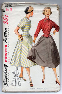 "1950's Simplicity Two-Piece Dress Pattern - Bust 30"" - No. 3946"