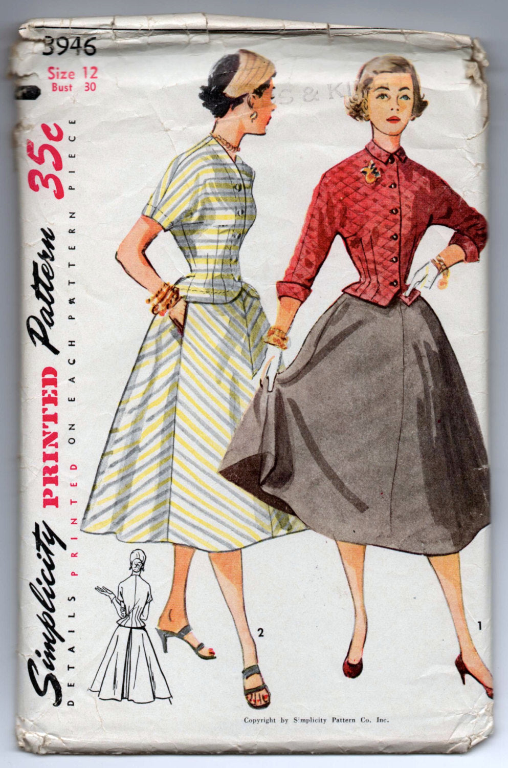 1950's Simplicity Two-Piece Dress Pattern - Bust 30