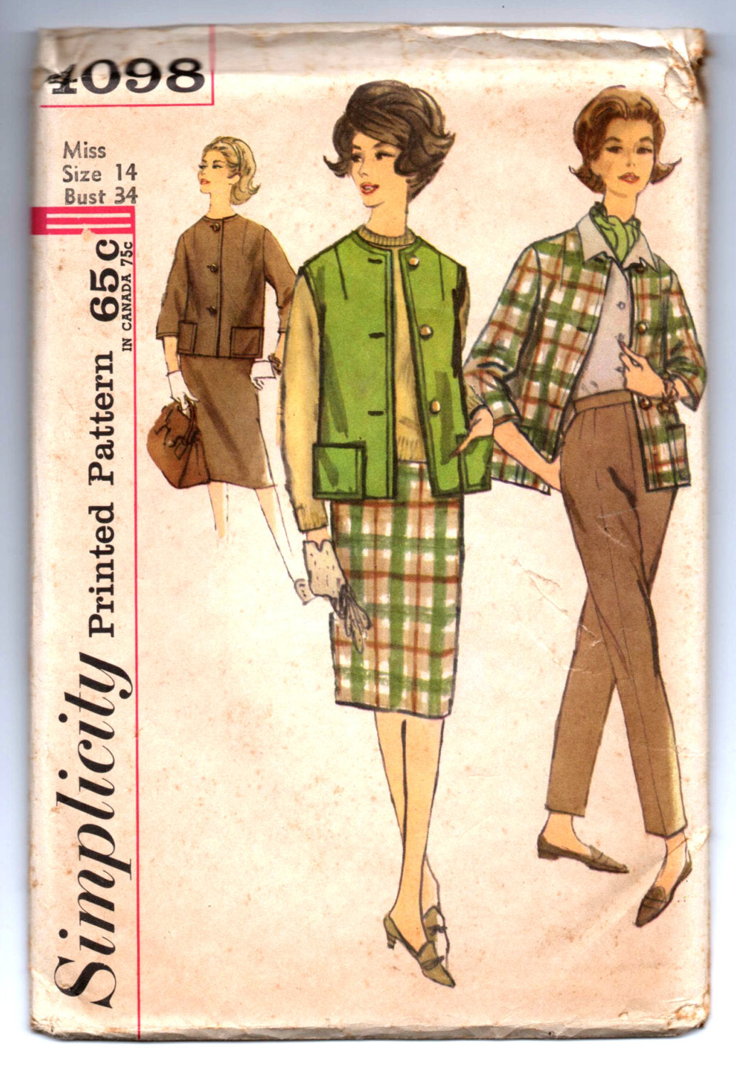 1960's Simplicity Jacket, Skirt, and Pants Pattern - Bust 34