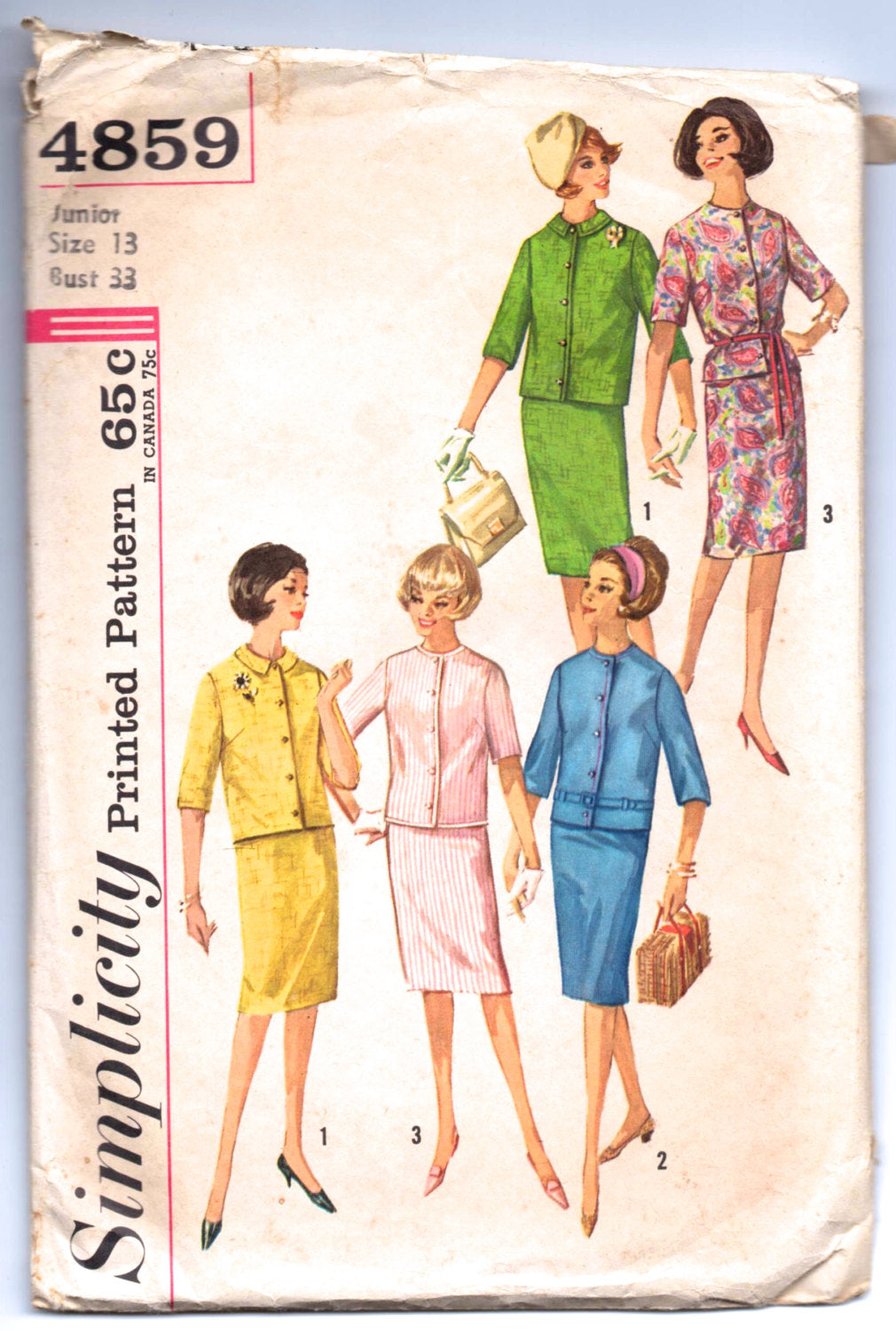 1960's Simplicity Jacket and Skirt Pattern - Bust 33