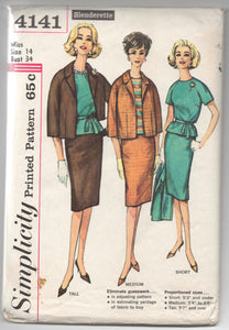 "1960's Simplicity Jacket, Blouse and Slim Skirt Pattern - Bust 34"" - No. 4141"
