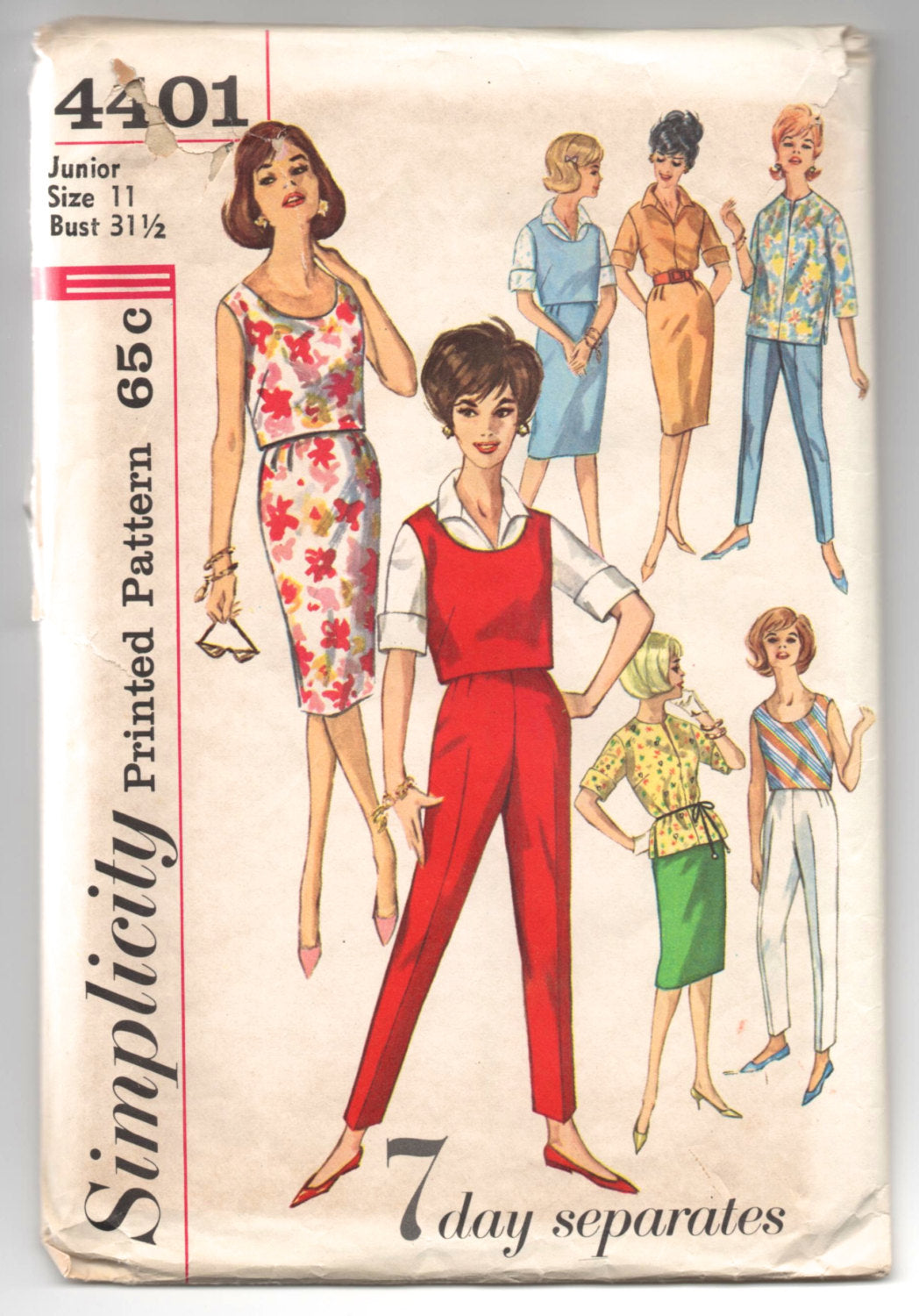 1960's Simplicity Seven Days of Separates, Blouse, Skirt, Pants and Top Pattern - Bust 31.5