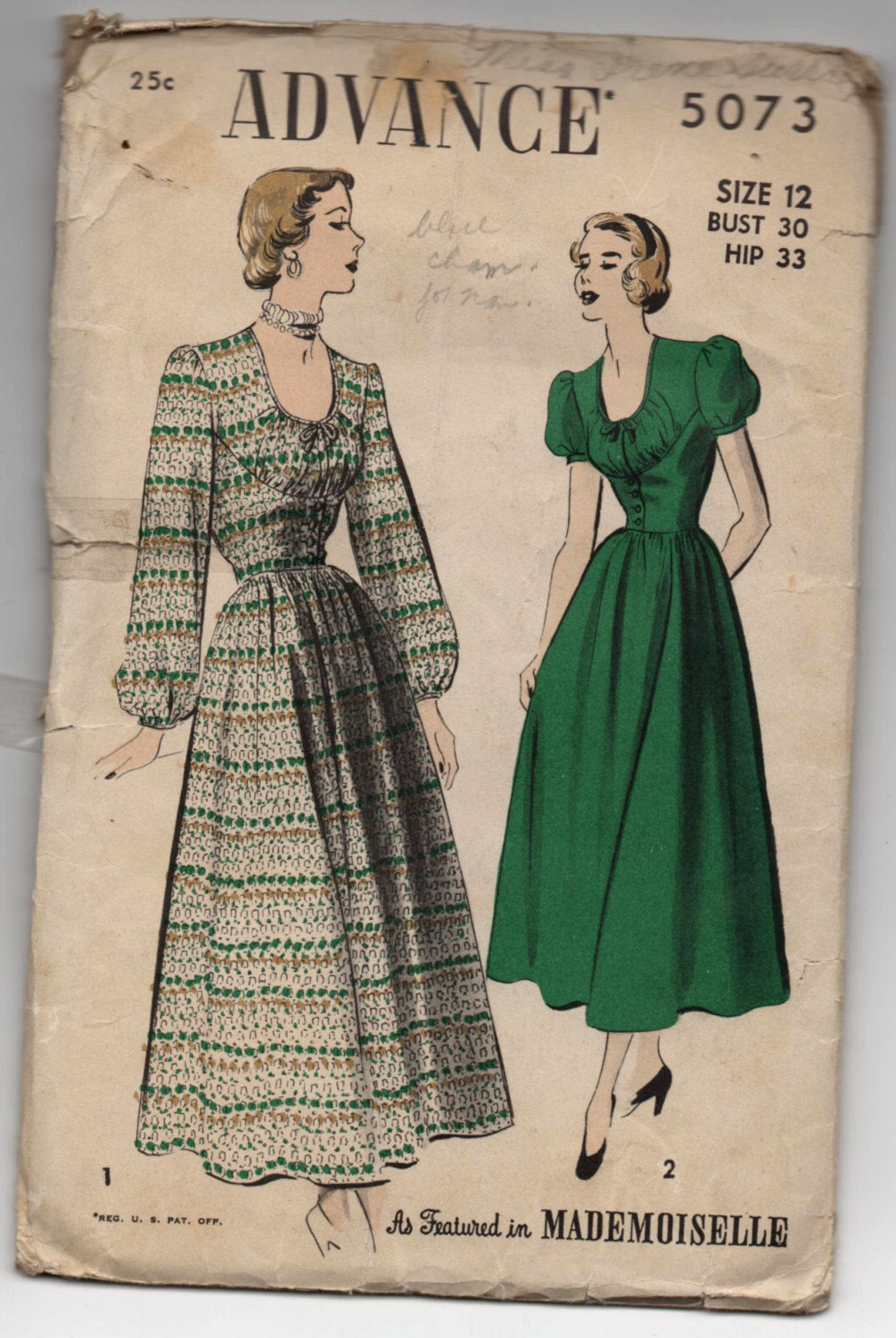 1940's Advance One-Piece Dress with Puff or Long sleeves Pattern- Bust 30