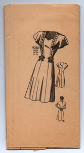 "1940's Marian Martin One-Piece Dress with Cap Sleeves - Bust 38"" - UNCUT - No. 9250"