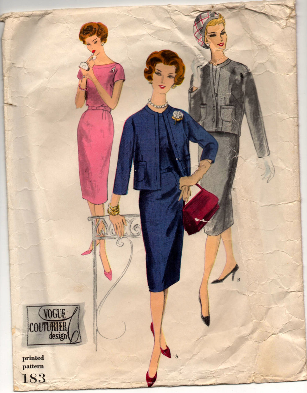1950's Vogue Couturier Design One-Piece Dress and Jacket Pattern - Bust 36