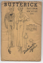"1930's Butterick One-Piece Dress with Neck detail pattern - Bust 34"" - UC/FF - No. 6070"