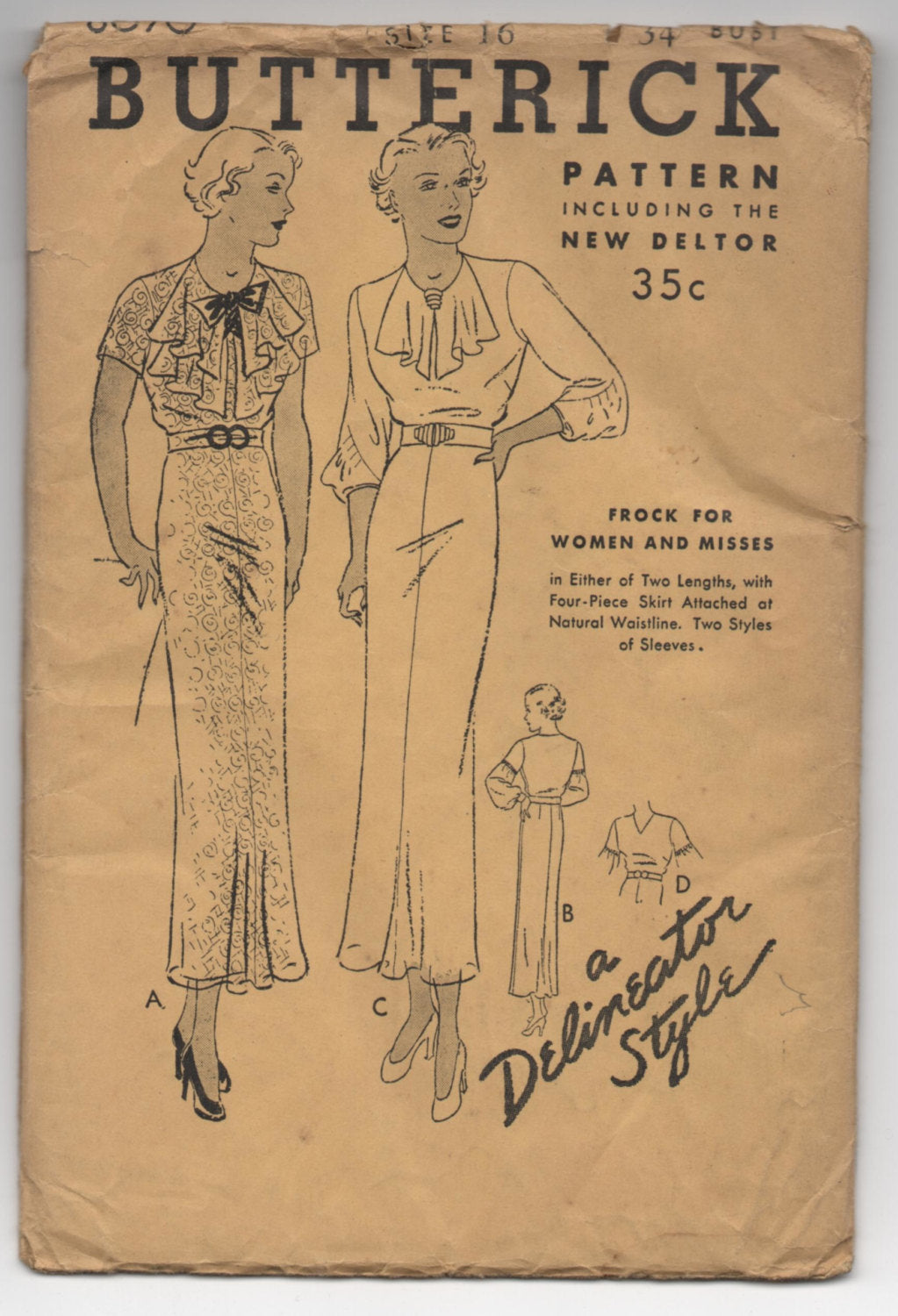1930's Butterick One-Piece Dress with Neck detail pattern - Bust 34