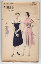 "1950's Vogue One-Piece Dress and Capelet Pattern - Bust 30"" - UC/FF - No. 7393"