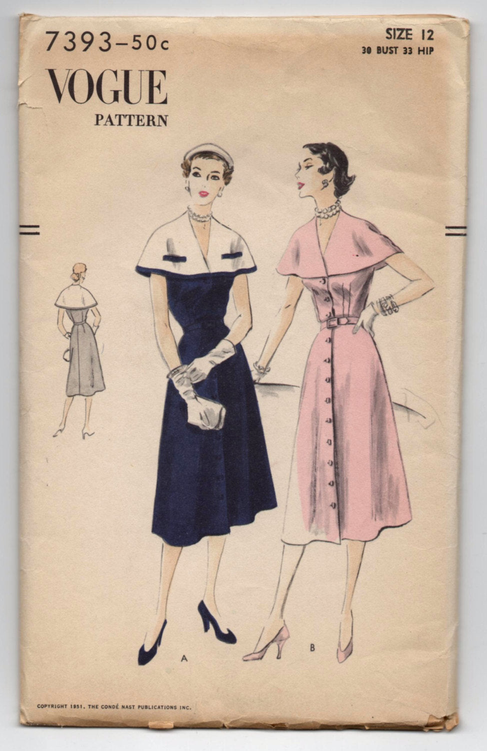 1950's Vogue One-Piece Dress and Capelet Pattern - Bust 30
