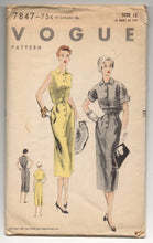 "1950's Vogue One-Piece Dress and Bolero Pattern - Bust 30"" - UC/FF - No. 7847"