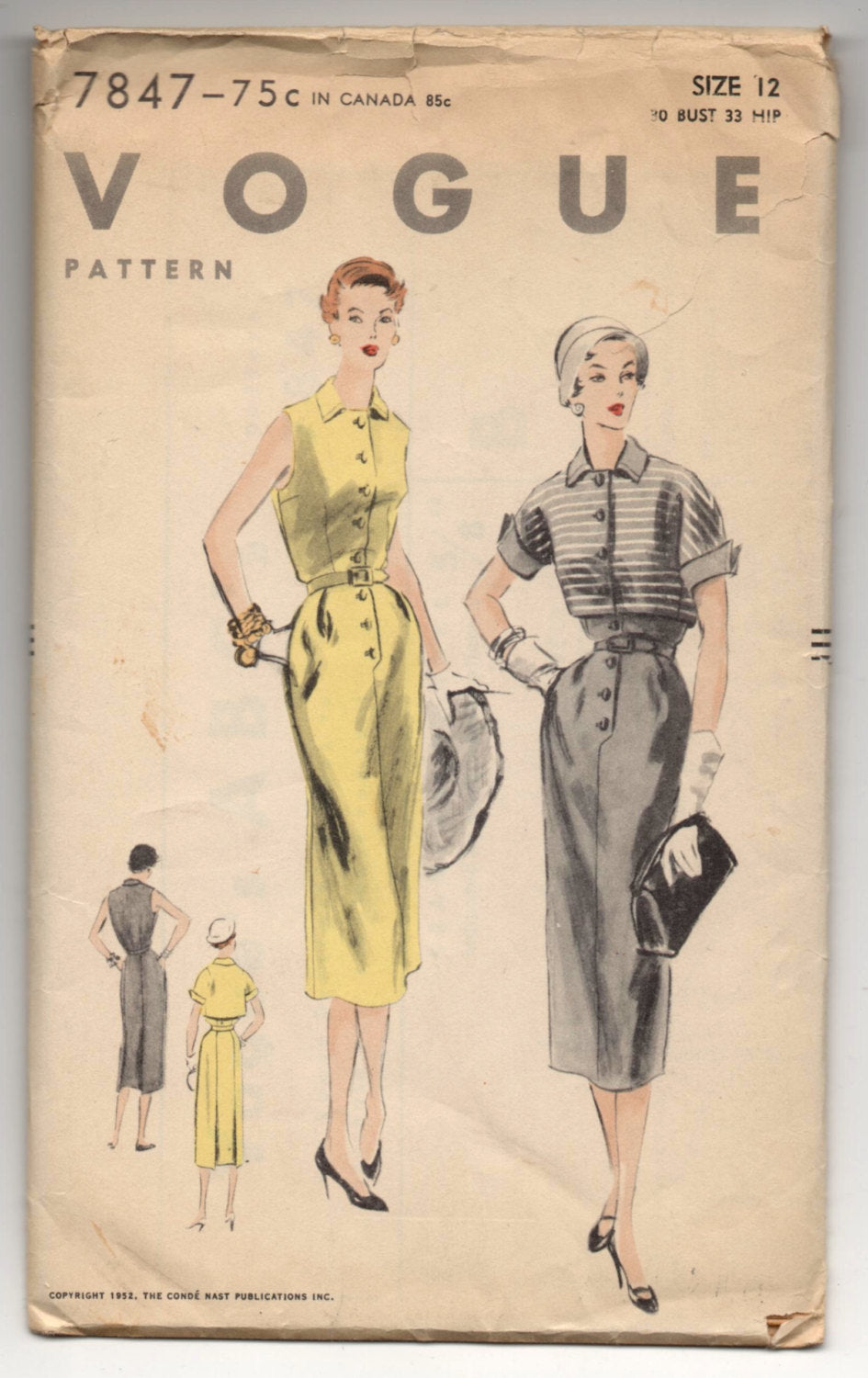1950's Vogue One-Piece Dress and Bolero Pattern - Bust 30