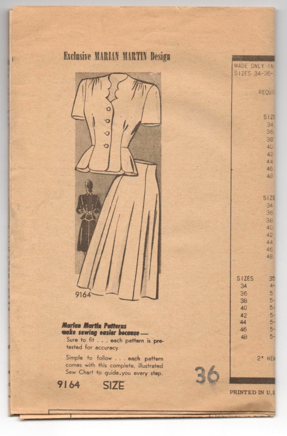 1950's Marian Martin Play Suit Pattern - Bust 36