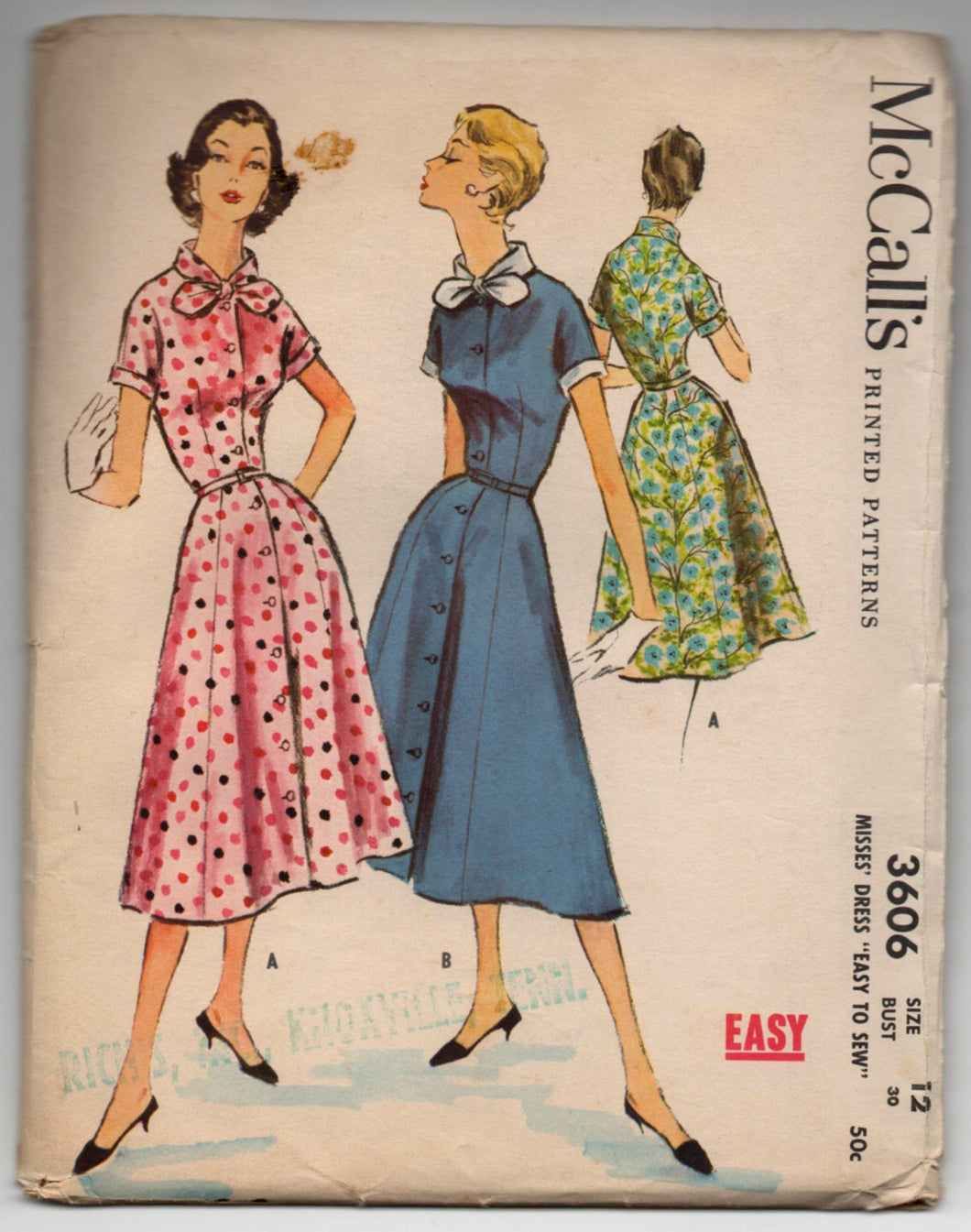 1950's McCall's One-Piece Dress with high neck and bow detail - Bust 30