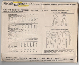 "1950's McCall's One-Piece Dress with high neck and bow detail - Bust 30"" - UC/FF - No. 3606"
