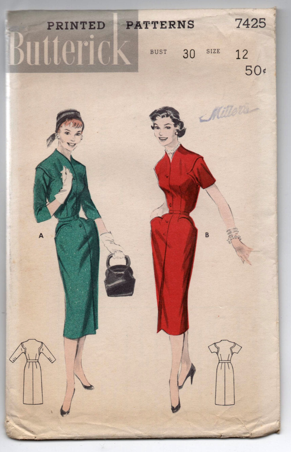 1950's Butterick One-Piece Dress with Pockets and decorative armseye Pattern - Bust 30