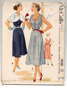 1950's McCall's One-Piece Button-Up Dress and Cape Pattern - Bust 32' - UC/FF - No. 9330