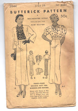 "1930's Butterick Three-Piece Bolero Suit with Bow-tie collar - Bust 34"" - UC/FF - No. 5544"