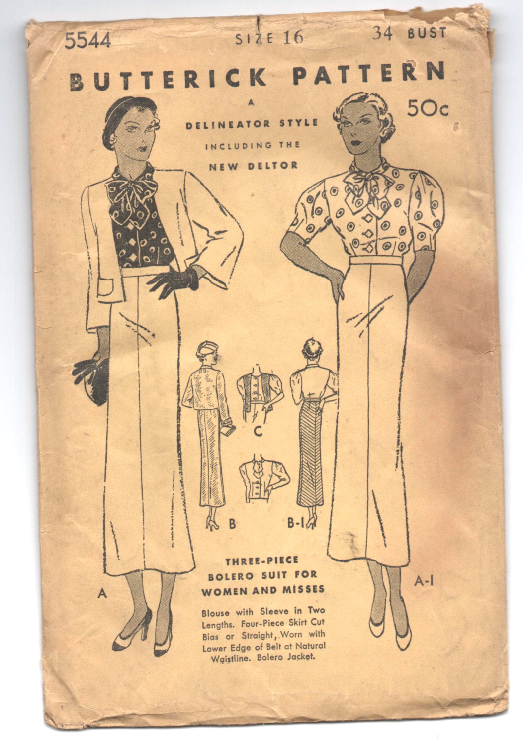 1930's Butterick Three-Piece Bolero Suit with Bow-tie collar - Bust 34