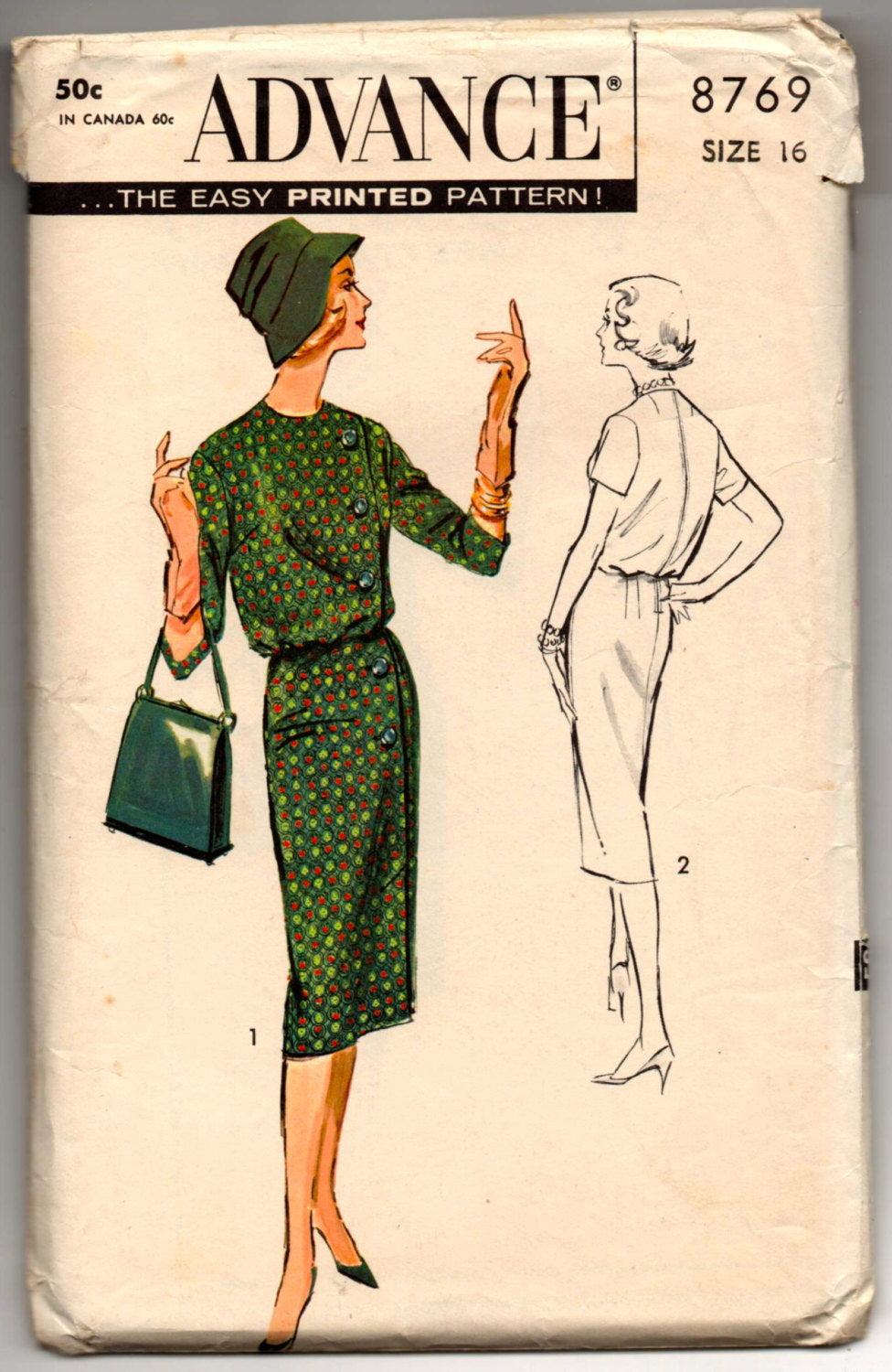 1950's Advance One-Piece Dress with fullness at top Pattern - Bust 36' - No. 8769