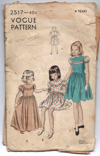 1940's Vogue Girl's Dress Pattern - Breast 23