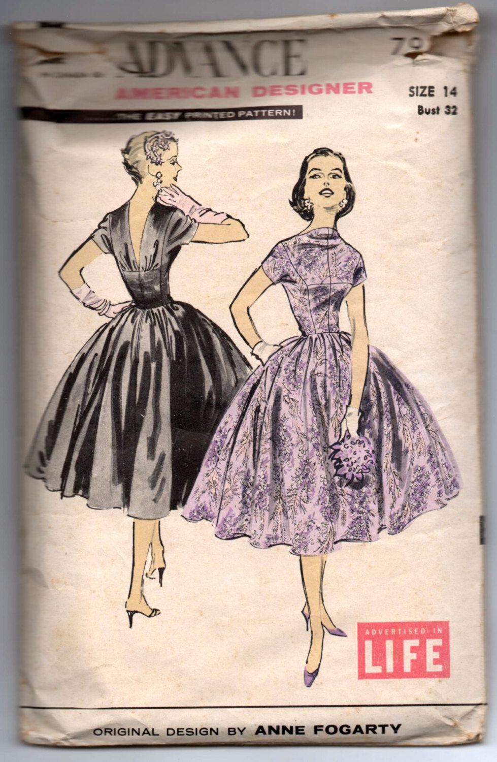 1950's Advance American Designer Evening Dress Pattern with full skirt - Bust 32