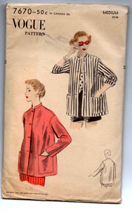 "1950's Vogue Jacket with Two Sleeve lengths Pattern - Bust 32-34"" - No. 7670"
