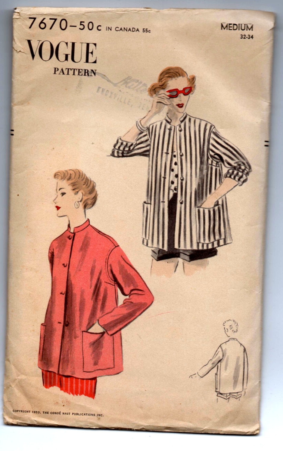 1950's Vogue Jacket with Two Sleeve lengths Pattern - Bust 32-34