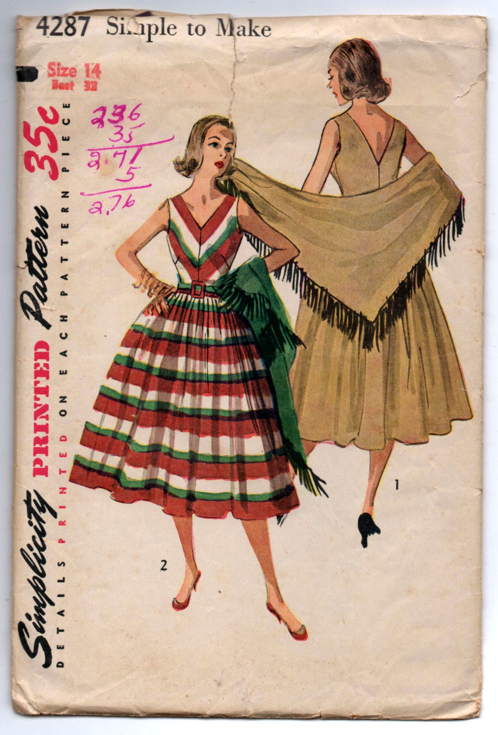 1950's Simplicity V-Neck Dress and Shawl Pattern - Bust 32