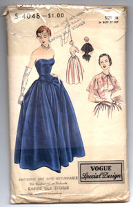 "1940's Vogue Special Design Evening Gown and Capelet Pattern - Bust 34"" - No. S-4048"