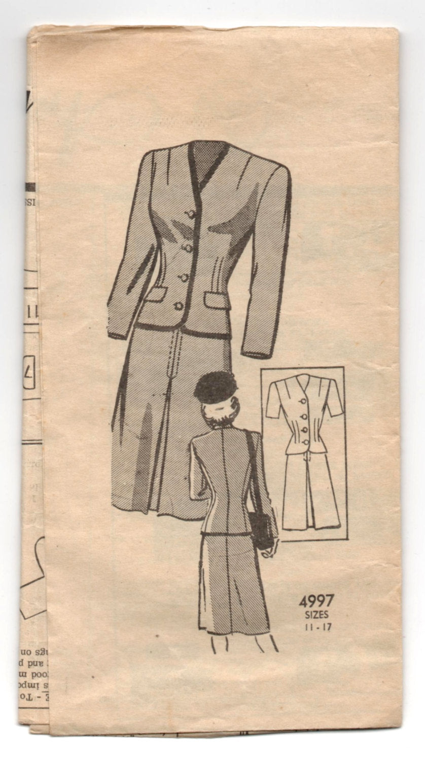 1950's Anne Adams Two-Piece Suit Pattern - Bust 35