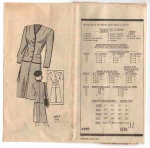 "1950's Anne Adams Two-Piece Suit Pattern - Bust 35"" - No. 4997"