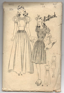 "1940's Butterick One-Piece Dress Pattern for Graduation or Party - Bust 32"" - No. 1882"