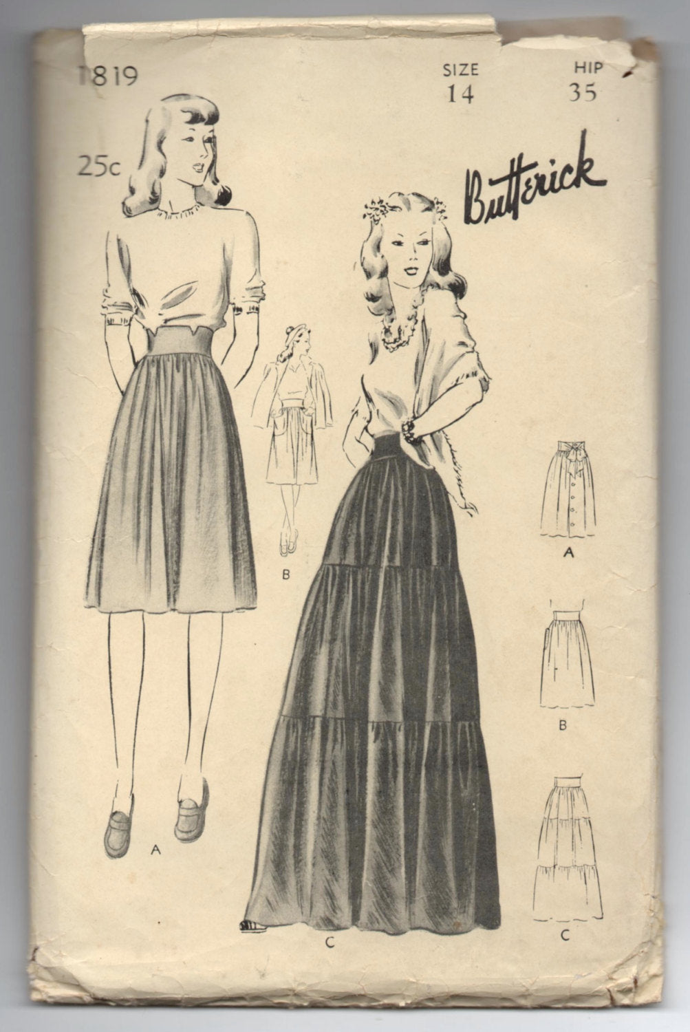 1940's Butterick Full Length Tiered, Dirndl, and Knee Length with Pockets Skirts Pattern - Hip 35