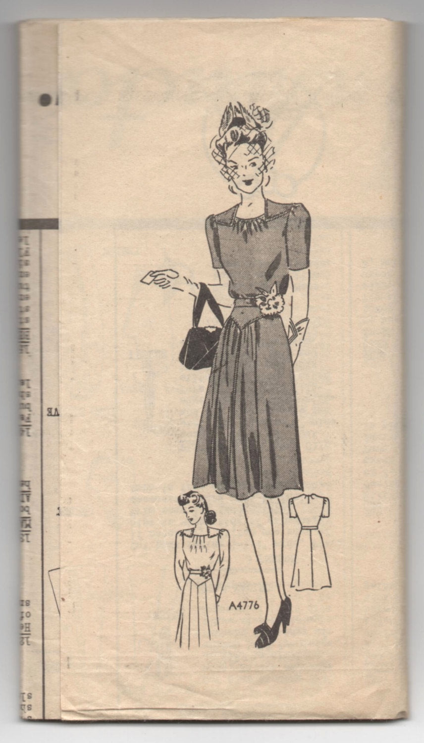 1940's Anne Adams One-Piece Dress Pattern with Short Sleeves - Bust 34