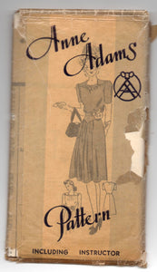 "1940's Anne Adams One-Piece Dress Pattern with Short Sleeves - Bust 34"" - No. A4776"