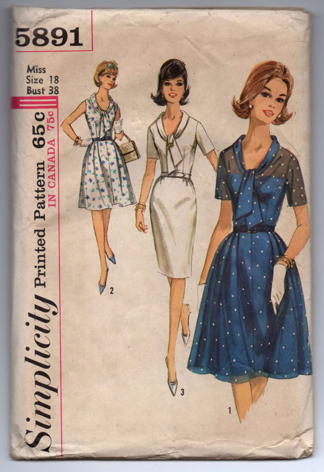 1960's Simplicity One-Piece Dress with Tie Collar in Pencil or Full Skirt Pattern - Bust 38