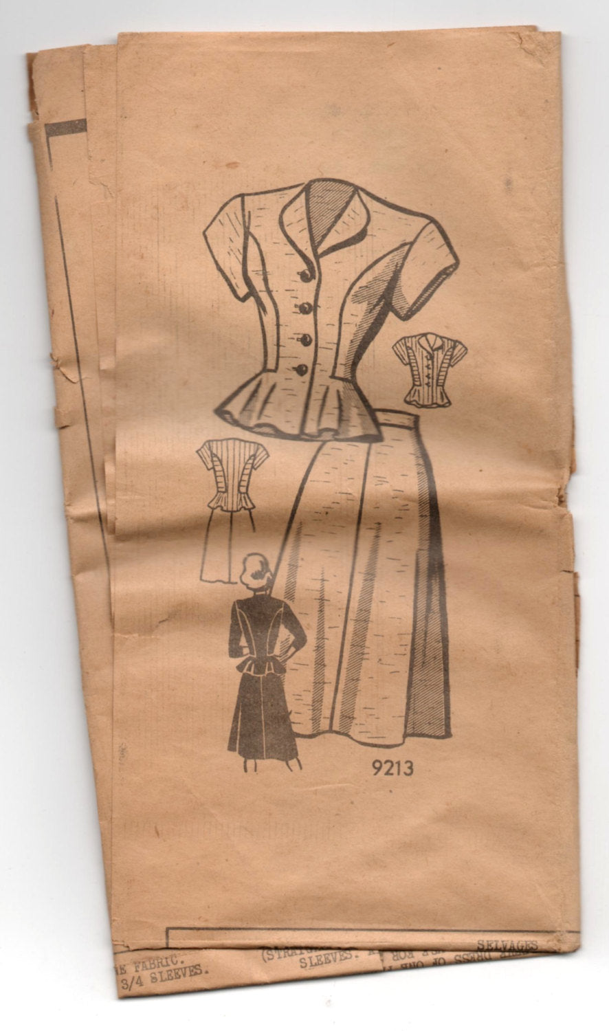 1940's Marian Martin Fitted Blouse and Skirt Pattern - Bust 32