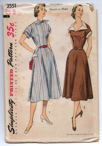 "1950's Simplicity One-Piece Day Dress with Large Collar or High Neck Pattern - UNCUT - Bust 34"" - No. 3551"