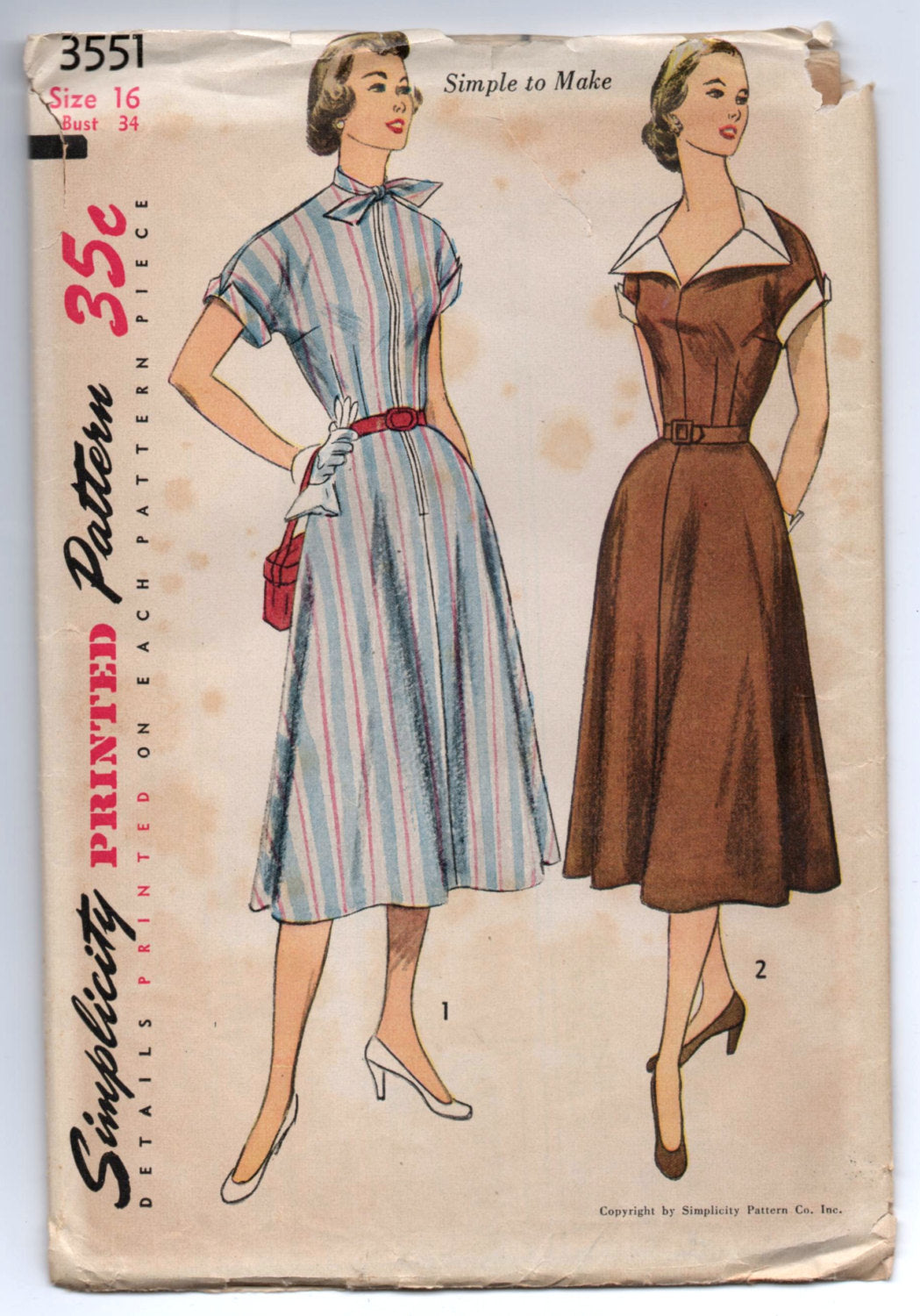 1950's Simplicity One-Piece Day Dress with Large Collar or High Neck Pattern - UNCUT - Bust 34