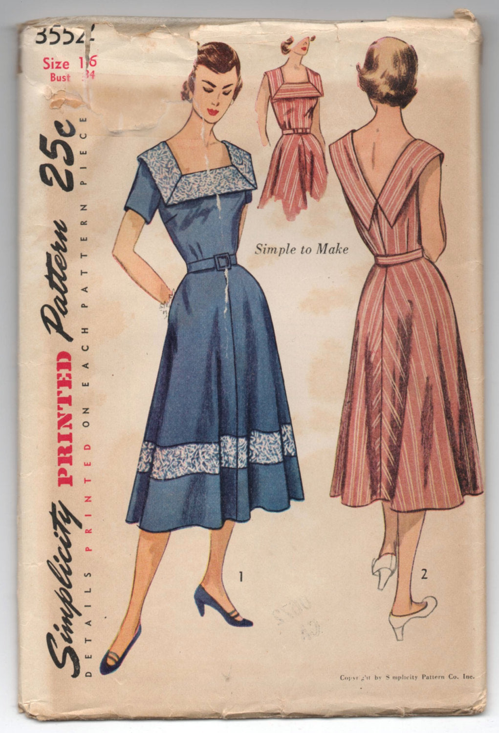 1950's Simplicity One-Piece Sun Dress Pattern - UNCUT - Bust 34